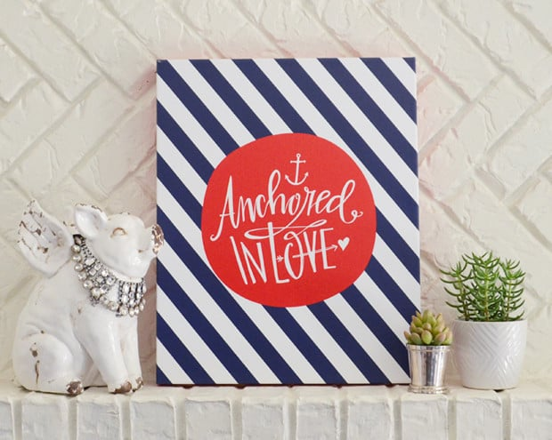 Available in four color combinations and three sizes, Lindsay Letters' Anchored in Love ($75-$200) print would be the perfect message to display at a baby shower.