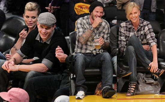 Pictures of David Beckham, Charlize Theron, Kellan Lutz And AnnaLynne McCord at a Lakers Game