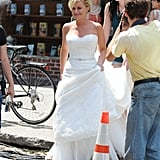See Amy Poehler on Set in a Wedding Gown