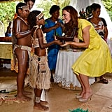 Kate Middleton looked so excited to be presented with a small canoe by local children in the Solomon Islands. She and William made a stop in the country's capital during their Diamond Jubilee tour in September 2012.