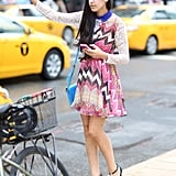 You need little else but a statement print like this to get noticed at Fashion Week. Source: Greg Kessler