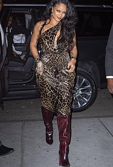 Rihanna Wears Leopard Print Dress and Snakeskin Boots