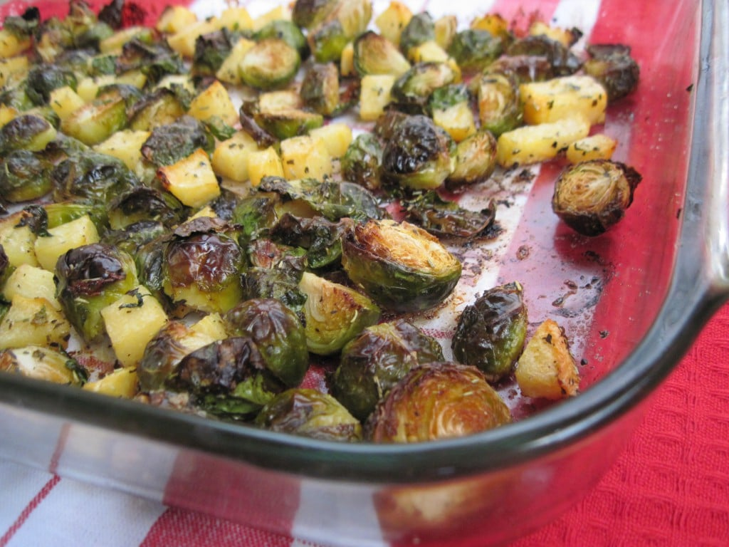 Roasted Rosemary Brussels Sprouts and Rutabaga