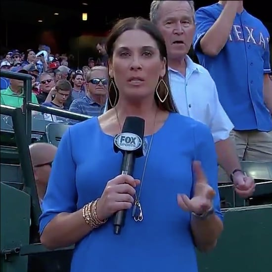 George W. Bush Photobombs Reporter at Baseball Game