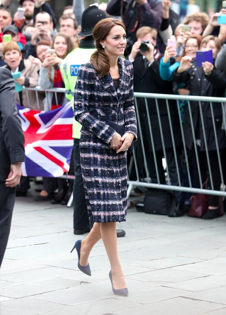 Duchess Kate's Plaid Erdem Coat in Manchester October 2016