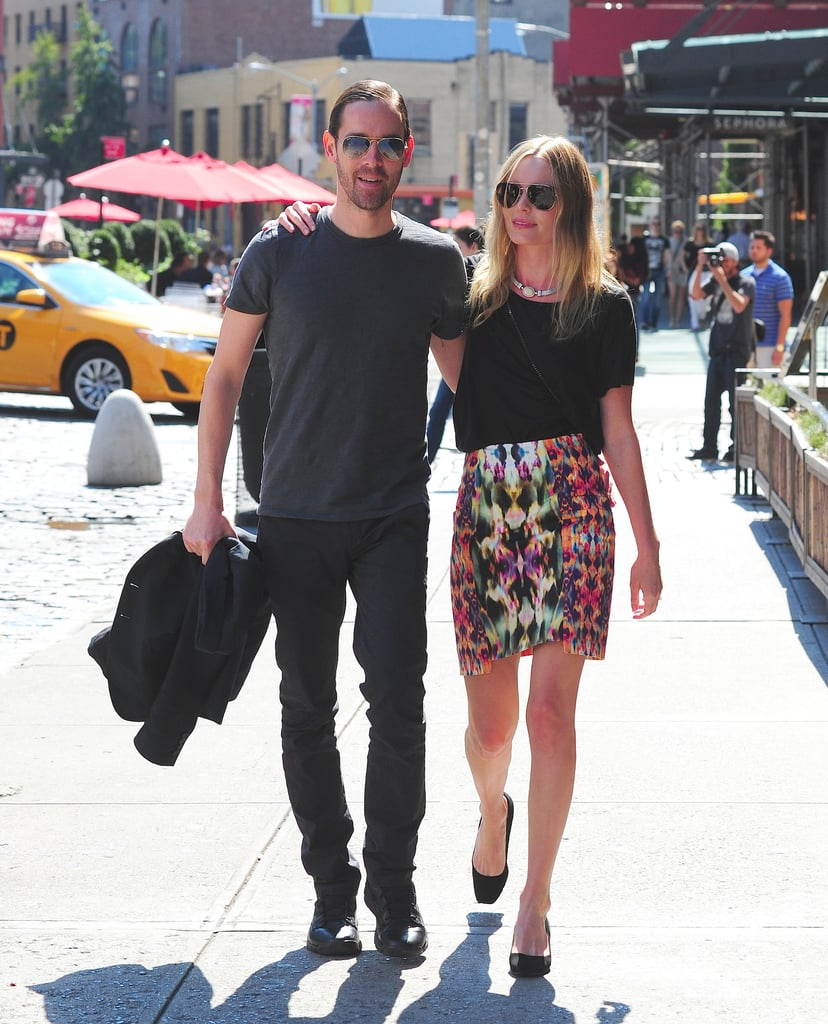 OK, so we saw Kate Bosworth around Fashion Week (a lot), but we didn't get to see this floral pencil skirt at the tents. We love the cool contrast between a statement skirt and an easy t-shirt — plus how adorable is she strolling with fiancé Michael Polish?