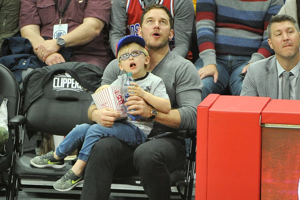 "Chris Pratt and his 5-year-old son, Jack, had a boys' night out when they stepped out to watch the LA Clippers take on the Minnesota Timberwolves at the Staples Center in LA on Wednesday. The father-son duo snacked on popcorn as they took in the game courtside, but it was really little Jack who stole the show with his adorable facial expressions.        Related:                                                                                                           These Quotes Prove Anna Faris and Chris Pratt Aren't Like Most Broken-Up Couples               The sweet outing marks the first time we've seen Chris since he and Anna Faris officially filed for divorce. The former couple cited ""irreconcilable differences"" as the reason for their split and are seeking joint custody of their son. Anna was also spotted house hunting with boyfriend Michael Barrett earlier this week, though it's unclear whether the pair is looking into buying a home together or if just one of them is."