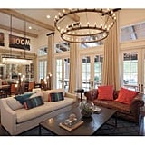 Cathedral-vaulted ceilings soar to 9 feet high in the dramatic living rom.
