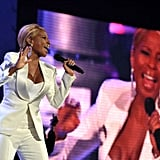 Mary J. Blige changed into a white suit before performing.