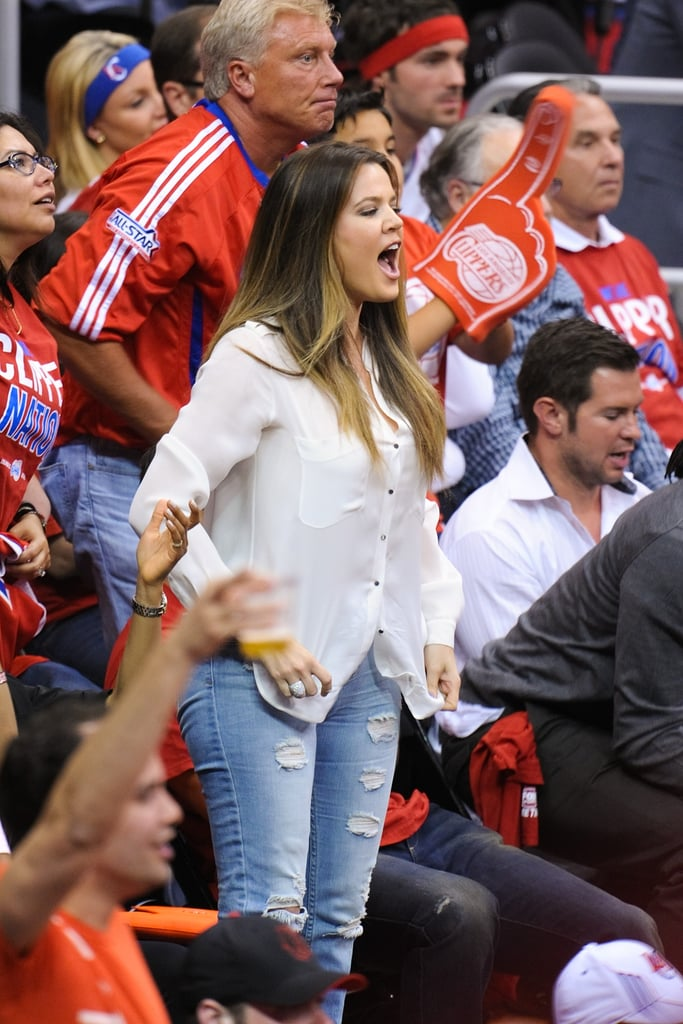 Khloé Kardashian cheered on her husband, Lamar Odom, during an LA Clippers game in April.