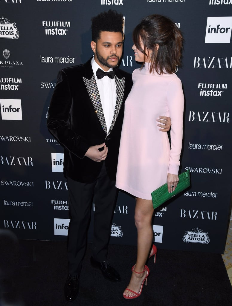selena gomez pink valentino dress at harpers bazaar party