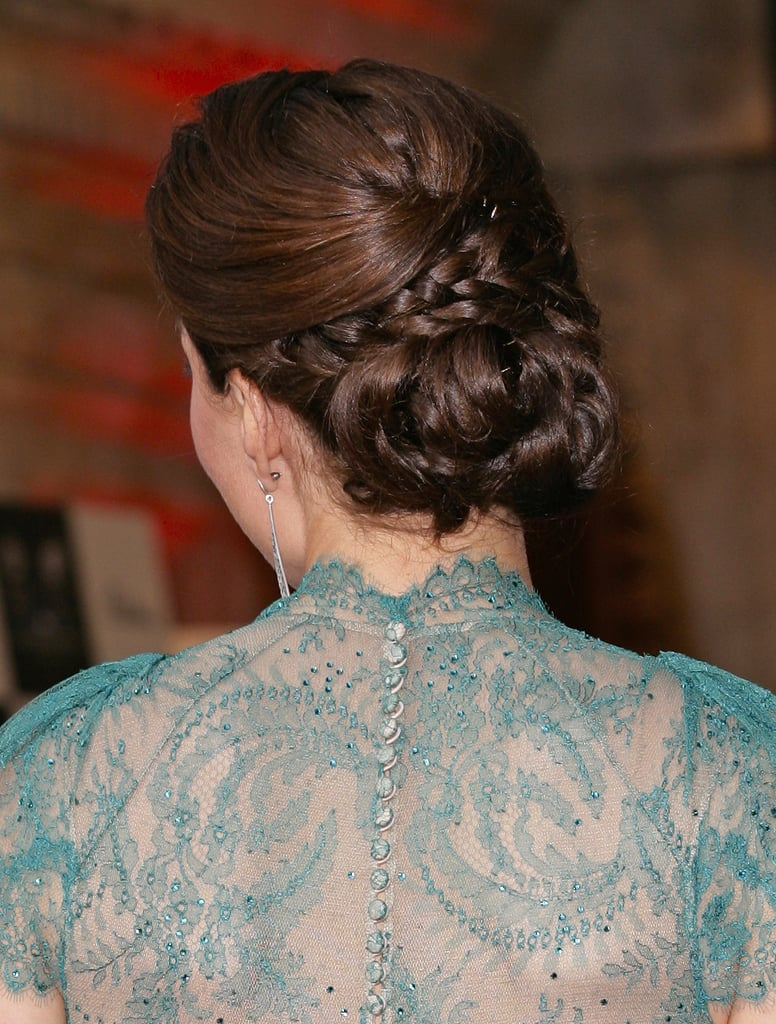 Kate wore her hair in an intricate updo.