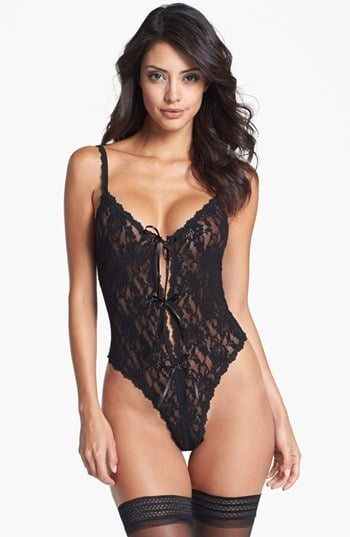 "Hanky Panky ""Signature Lace"" Open Gusset Teddy ($78)"