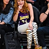Bella Thorne's Lakers Jersey: On Point. Bella Thorne's Tall Strappy Pumps? A Surprise That Cannot Be Ignored
