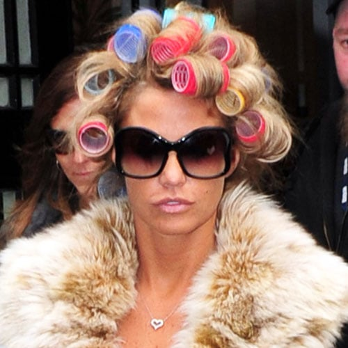 Katie Price Wearing Rollers in Her Hair