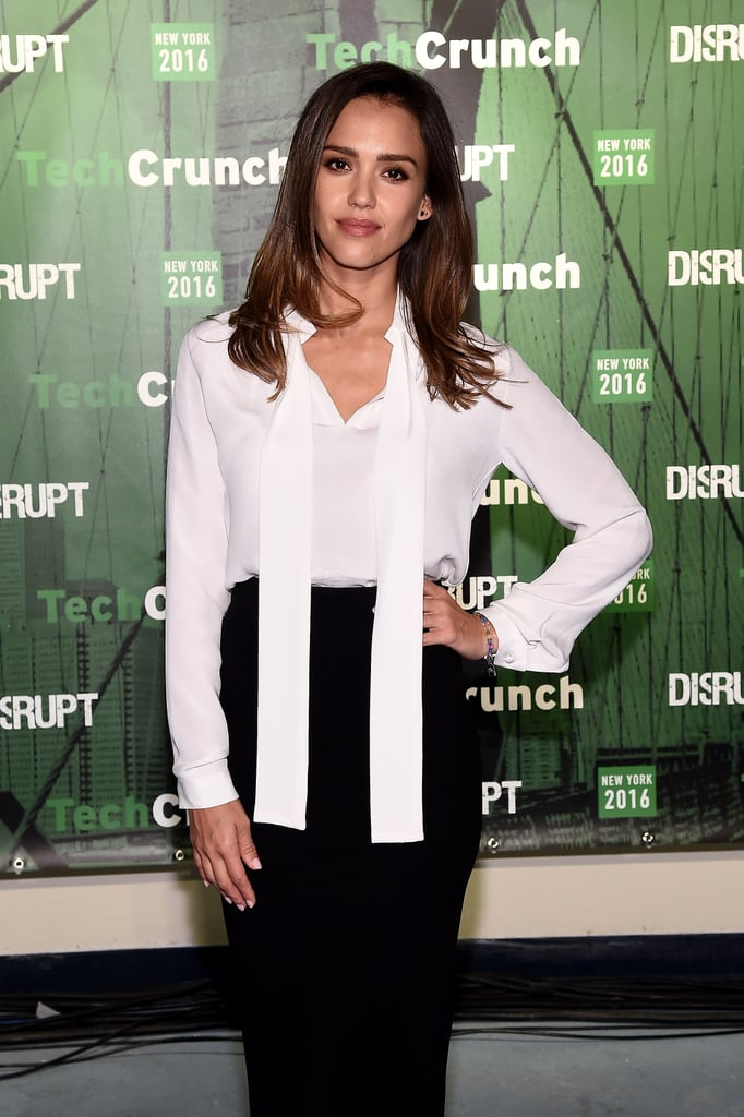 aa2298f24a Jessica Alba Wears White Blouse and Pencil Skirt May 2016 | POPSUGAR ...