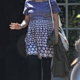 Drew Barrymore wore a blue polka-dot dress on her honeymoon in Montecito with new husband Will Kopelman.