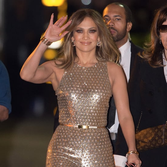 Jennifer Lopez Wearing a Gold Jumpsuit