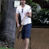 Liam Hemsworth went golfing in LA with friends in April 2012.