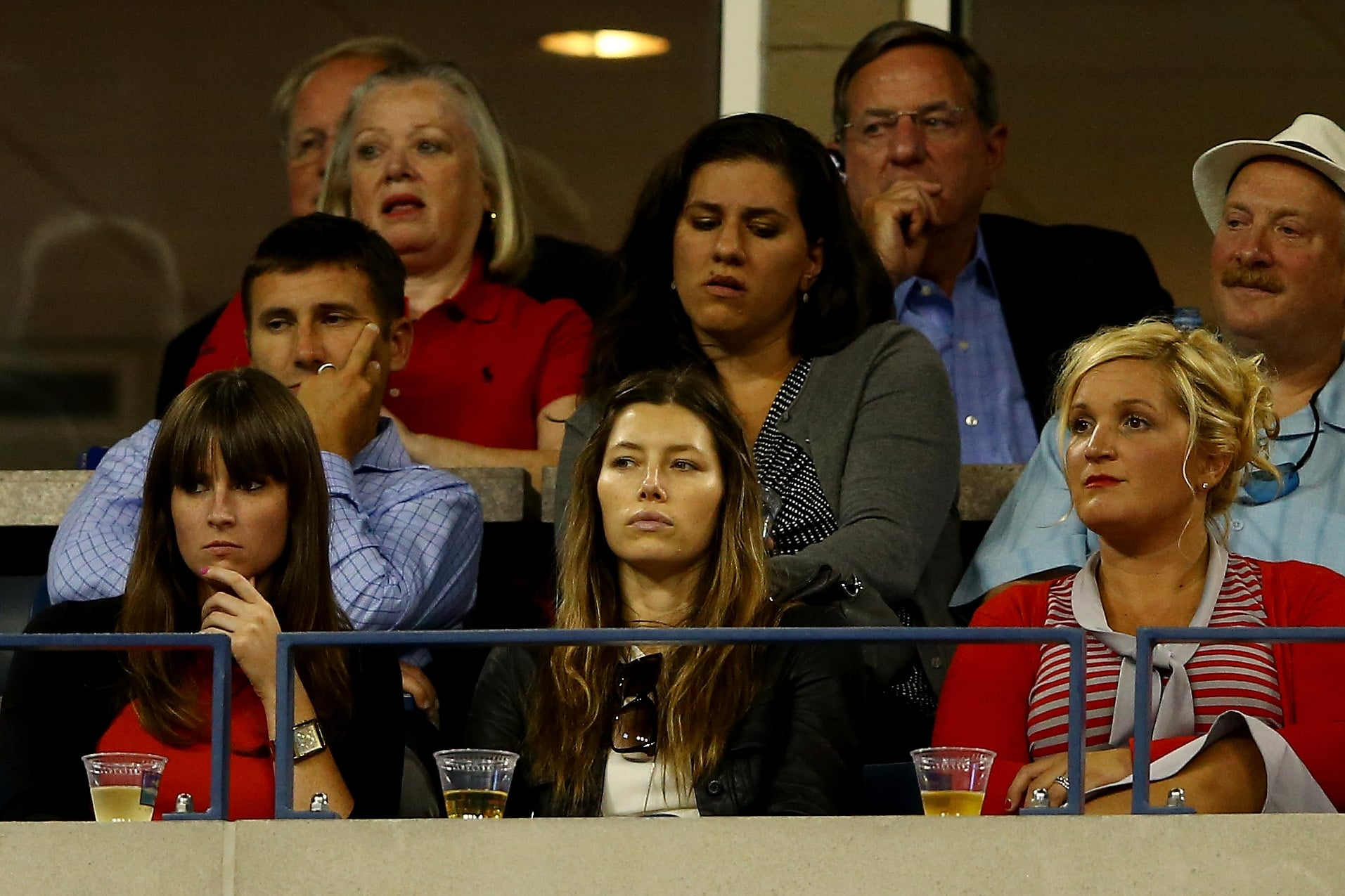 Jessica Biel took in the tennis action from a box with friends.