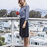 A Knotted Button-Down, Midi Skirt, and Loafers