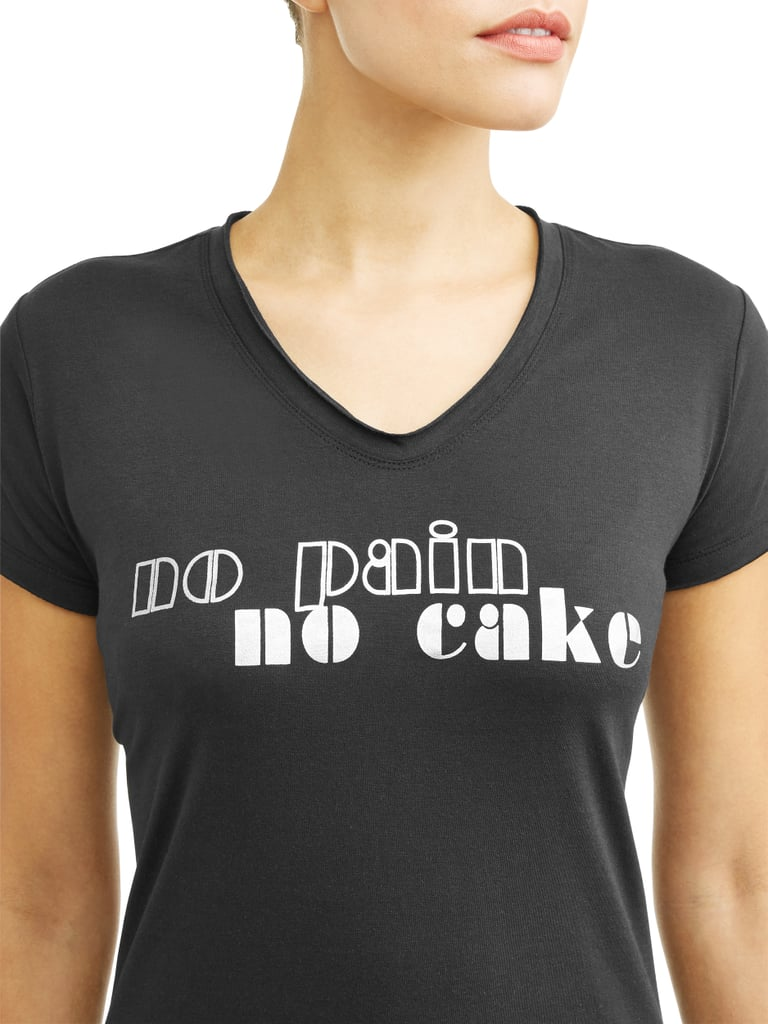 No Pain No Cake Short Sleeve V-Neck Graphic T-Shirt