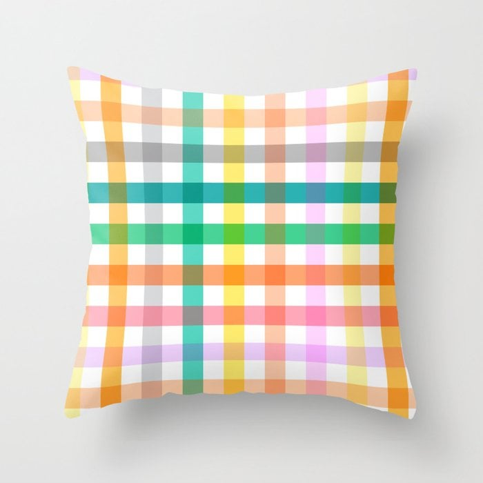 Cottagecore Colorful Gingham Picnic Throw Pillow by ninola