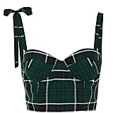 Rosie Assoulin Bustino Plaid Crepe Bustier Top