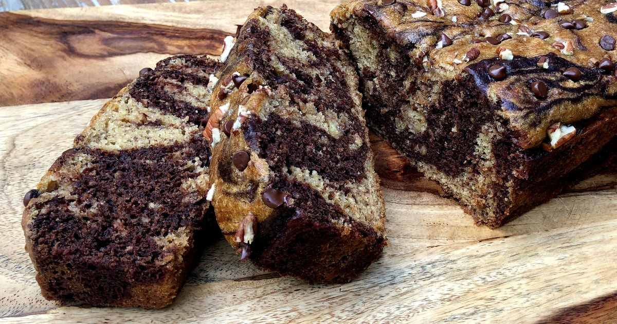 Snack on This Satiating and Sweet Chocolate Marbled Banana Bread With 10 Grams of Protein