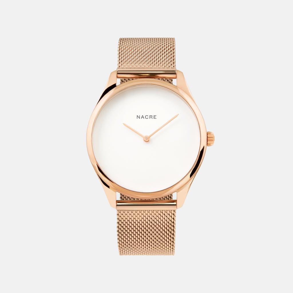 Nacre Lune Rose Gold Mesh Watch