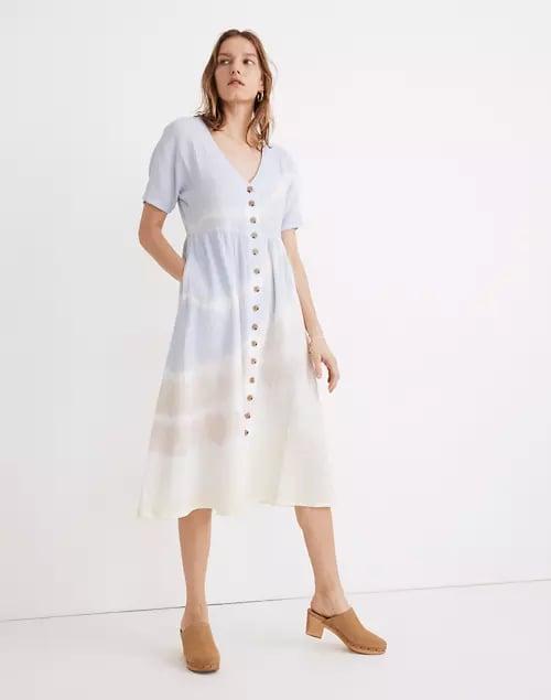 Madewell Tie-Dye Lightspun Button-Front Midi Dress
