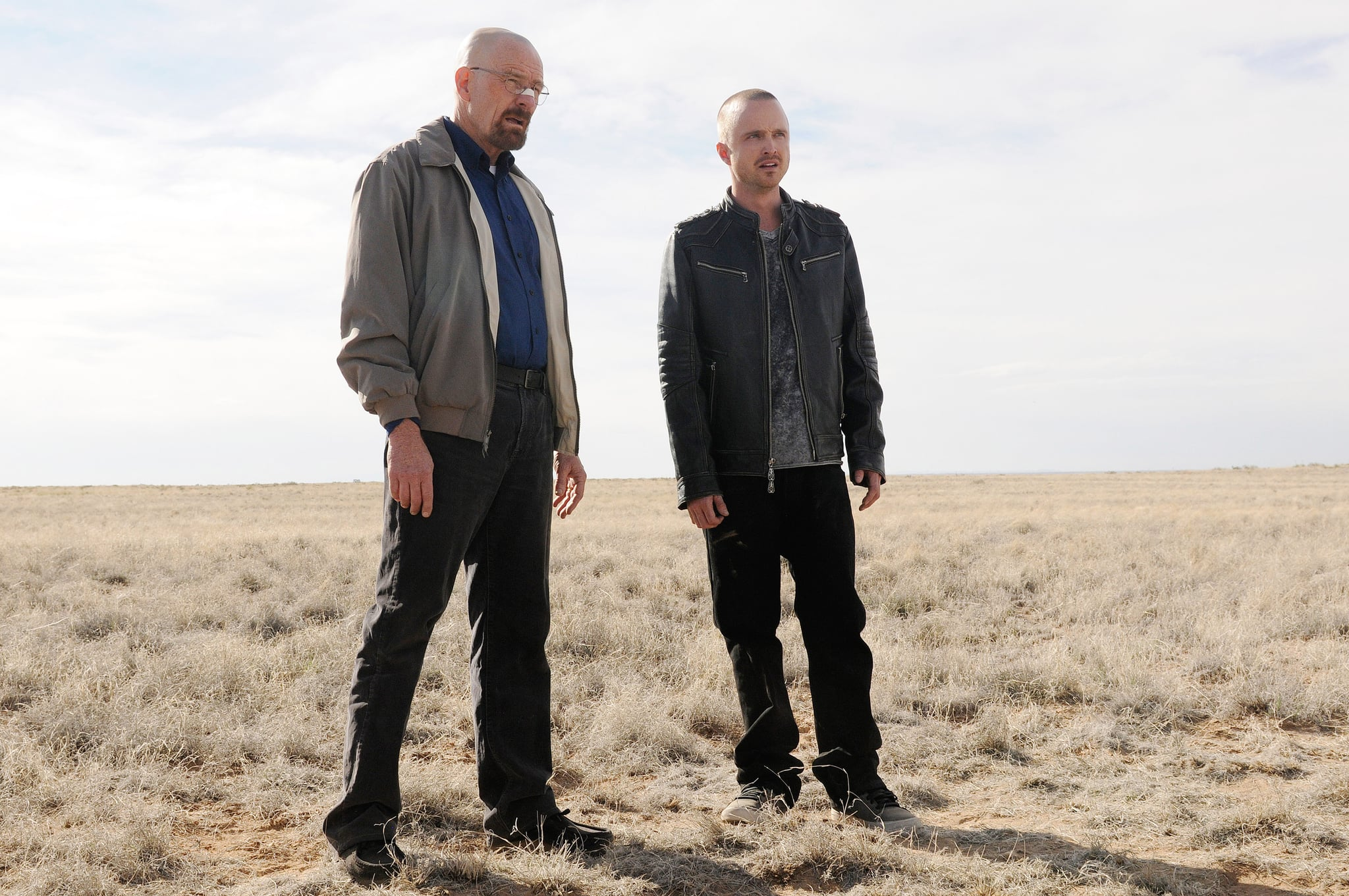 BREAKING BAD, (from left): Bryan Cranston, Aaron Paul, 'Live Free or Die', (Season 5, ep. 501, airing July 15, 2012), 2008-2012. Photo: Ursula Coyote /  AMC / Courtesy Everett Collection