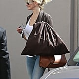 Cameron Diaz had a bag from Gucci in her hand.