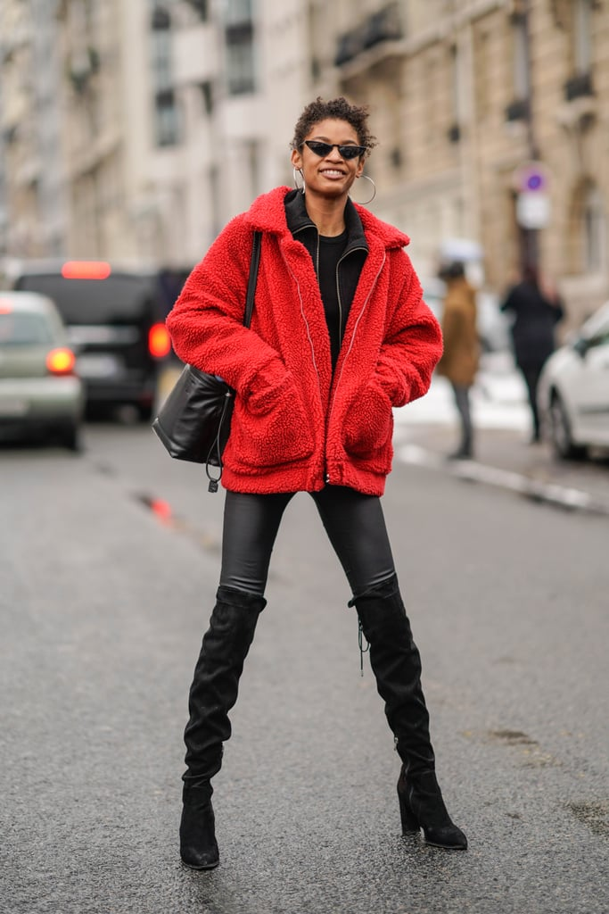 Rock a Pair of Suede Thigh-Highs With a Fuzzy Red Coat