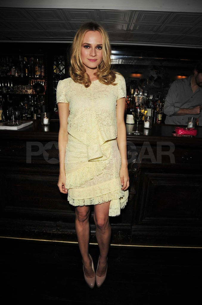 Diane Kruger stepped out in a lacy N21 dress and Brian Atwood heels for a party celebrating her recent cover of Glamour in NYC last night. She was joined by fashionable friends like designer Jason Wu and J.Crew Creative Director Jenna Lyons for the event, which was held at West Village hot spot Fedora. Diane is front and center on the magazine's March issue, and she shared her thoughts on marriage and style for the interview. Her current focus is on film, though, as she's promoting Unknown while also clearing up rumors that she'll have a part in the upcoming Superman movie.