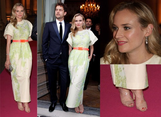 Pictures of Diane Kruger wearing neon and Joshua Jackson at the Liaisons Au Louvre II Charity Gala Dinner