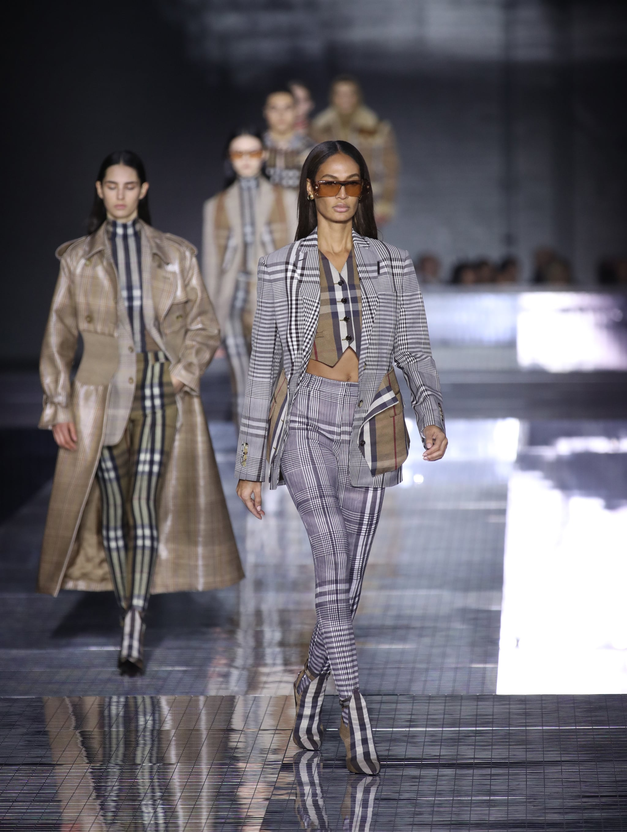 LONDON, ENGLAND - FEBRUARY 17: Joan Smalls walks the runway at the Burberry  show during London Fashion Week February 2020 on February 17, 2020 in London, England. (Photo by Mike Marsland/WireImage)