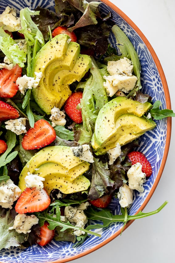 Avocado, Blue Cheese, and Strawberry Salad