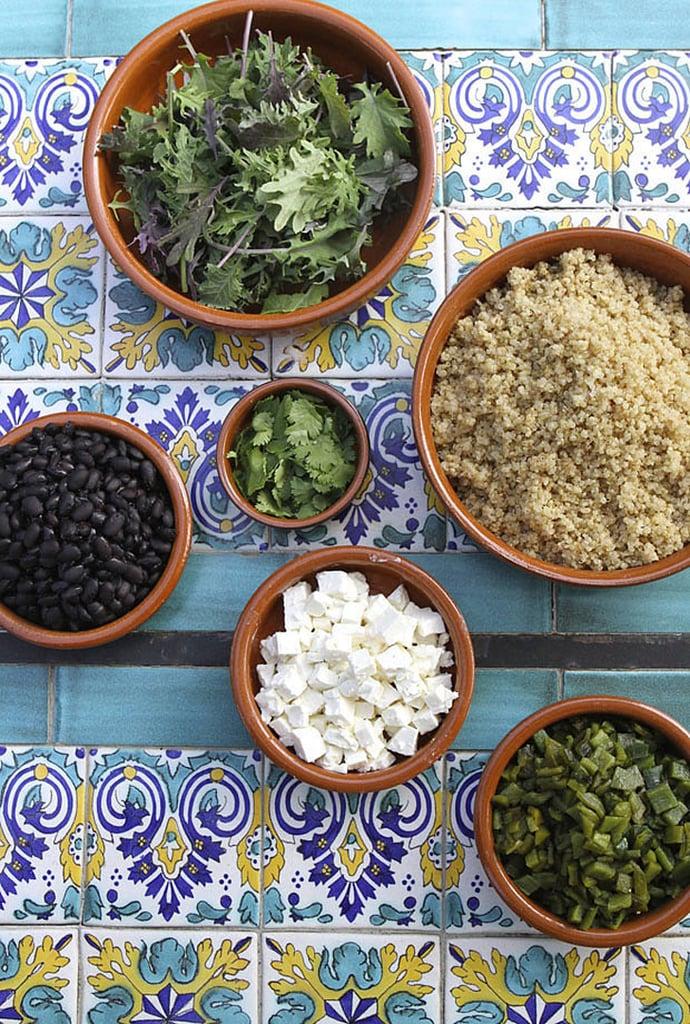 Quinoa Salad With Roasted Poblanos, Black Beans, and Feta