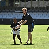Harry played a game of barefoot rugby in South Africa in December 2015.
