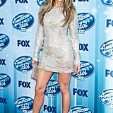 Jennifer Lopez showed off her legs at the American Idol season 13 finale on Wednesday.