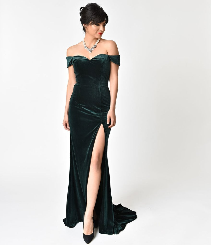 Hunter Green Velvet Bateau Neckline Cap Sleeve Gown | Unique Vintage ...