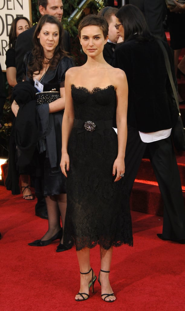 Natalie Portman in a Black Lace Dress at the 2006 Golden Globes