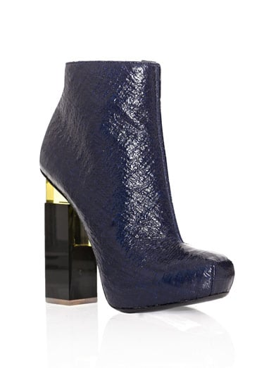 "I've been looking for a pair of ankle boots that screams ""high fashion"" — and I think that I've found them in these Nicholas Kirkwood for Erdem Geometric Heel Ankle Boots ($1,157). I'm in love with the sleek navy patent leather, and the architectural heel has a cool space-age feel. I think they'd be the perfect complement to a basic LBD. — Brittney Stephens, assistant editor"