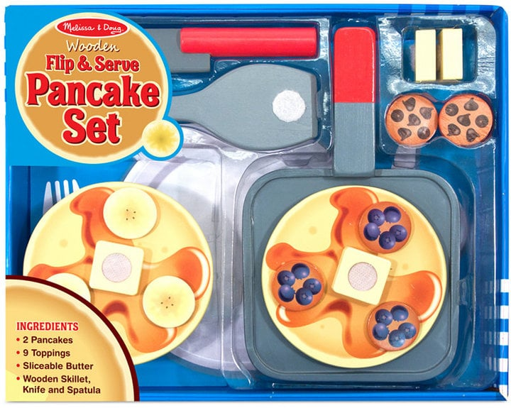 Melissa & Doug Kids' Wooden Flip & Serve Toy Pancake Set