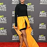 Kerry Washington wowed in a black-and-gold number on the MTV Movie Awards red carpet.