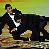 Jimmy Kimmel and Jimmy Fallon got into a brawl as they presented together.