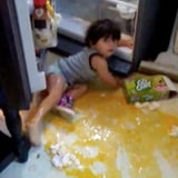 Toddler Destroying Raw Eggs When Mom Isn't Looking Is Horrifyingly Hysterical