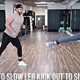 Next up, start in a squat position, and lift one leg and hip out to the side eight times. On your last rep, pulse that leg up and down eight more times. Repeat this for the other leg as well.