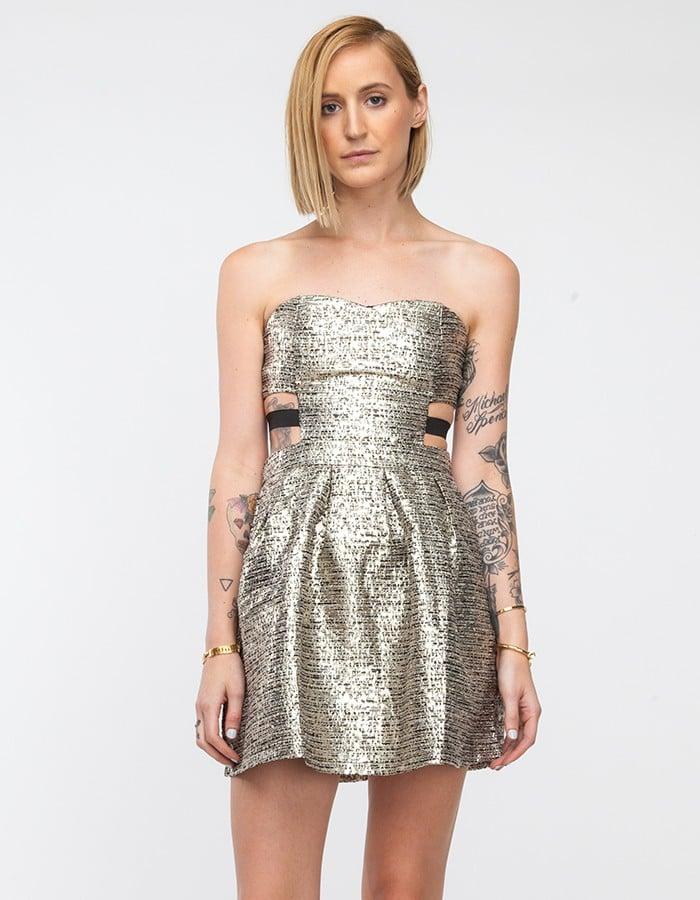 Need Supply Co. Metallic Gold Strapless Dress